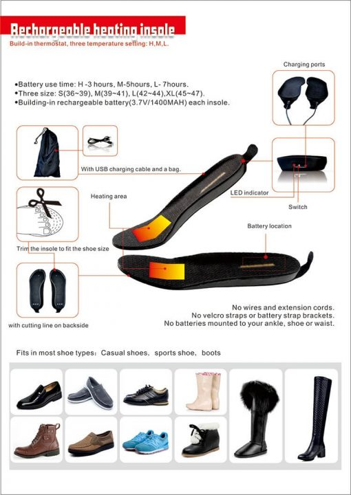rechargeable heated insole