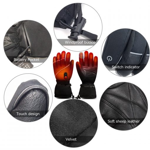 Leather Ski Battery Heated Gloves 3