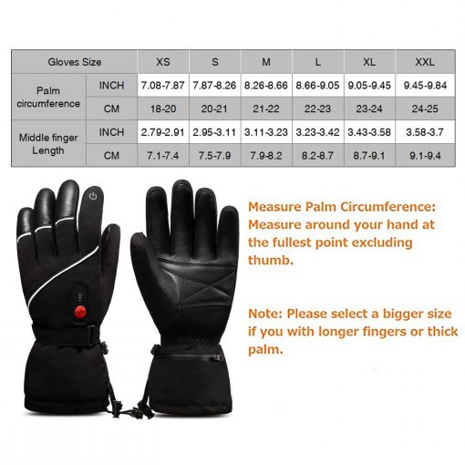 Leather Ski Battery Heated Gloves 5