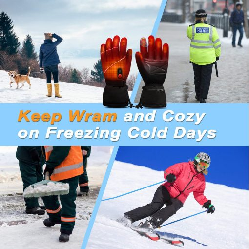 Leather Ski Battery Heated Gloves 6