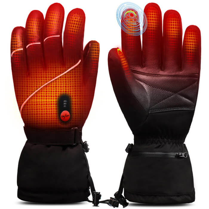 Goat Leather Ski Battery Heated Gloves